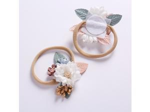 4pcs Flower Baby Headband Delicate Floral Headwrap Adorable Elastic Hair Band Infant Girls Headdress Photo Hair Accessories(4 Pattern)