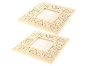 2PCS Blank Wooden Picture Holder Creative Heart Pattern Photo Frame Self Painting Homemade Frame for DIY Decor (Beige)