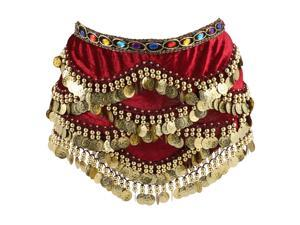 1 Pc Creative Womens Skirt Belly Dance Hip Scarf Wrap with Diamonds Coins for Women Ladies Girls (Red)
