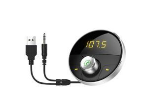 Wireless  Handsfree Car Charger FM Transmitter MP3 Player Radio Adapter Dual USB Car Charger Car Kit Support TF (Silver)