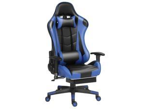 Labradores Home Office Gaming Chair Computer Desk Chair Ergonomic Backrest and Seat Height Adjustment Recliner Swivel Rocker with Headrest and Lumbar Pillow(Black/blue)