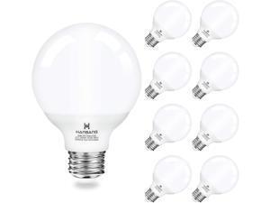 Vanity Light Bulb 5000K Daylight 8 Pack G25 LED Globe Light Bulb for Bathroom Vanity Mirror Decorative,E26 Medium Base,Hansang 5W 60W Incandescent Equivalent,500LM,Non-dimmable