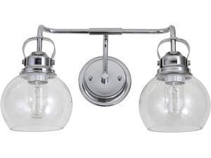 "JONATHAN Y JYL7404A Shirley 17.5"" 2 Metal/Bubbled Glass Vanity Light Contemporary,Transitional 2200K Edison 25W Bulbs for Bedroom Livingroom Bathroom Hallway, Chrome/Clear"