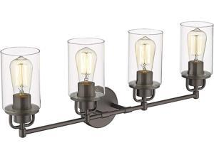 FEMILA 4-Lights Bathroom Vanity Lights, Bathroom Over Mirror Wall Lighting, Vanity Wall Sconce in Oil Rubbed Bronze Finish with Clear Glass, 4FH06-4W ORB