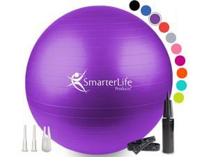 SmarterLife Exercise Ball for Yoga, Balance, Stability - Fitness, Pilates, Birthing, Therapy, Office Ball Chair, Classroom Flexible Seating - Anti Burst, Non Slip, Premium Workout Guide