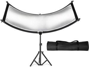 """SUPON Clamshell Light Reflector Diffuser, 71""""x24"""" /180x60cm Arclight Curved Lighting Reflector, Black, White, Gold, Silver with 28"""" /70cm Light Stand, Carry Bag for Photography Portrait Studio Shoot"""