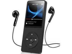 AGPTEK A02S 16GB MP3 Player with FM Radio, Voice Recorder, 70 Hours Playback and Expandable Up to 128GB, Black