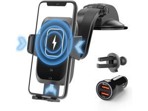 SHAWE Wireless Car Charger, 15W Qi Fast Charging Auto-Clamping Car Mount Charger Windshield Air Vent Car Phone Holder Compatible with iPhone 12/12 Pro/Pro MAX, Samsung S10/S9/S8 & Other Qi Cellphone