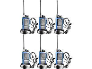 Arcshell Rechargeable Long Range Two-Way Radios with Earpiece 6 Pack Walkie Talkies Li-ion Battery and Charger Included