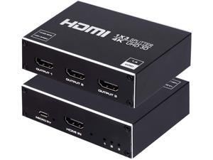 1x3 HDMI Splitter, 1 in 3 Out HDMI Splitter Audio Video Distributor Box Support 3D & 4K x 2K Compatible for HDTV, STB, DVD, PS3, Projector Etc