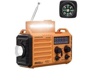 NOAA Weather Radio,Rechargeable 5000mAh Solar/Hand Crank/Battery Operated Radio,Shortwave AM FM Radio Portable,USB Cellphone Charger,LED Flashlight,Reading Lamp,SOS Alert,Emergency Survival Gear Kits
