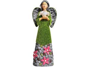 ASAWASA Flocked Solar Garden Statues and Sculptures Outdoor Decor,Garden Figurines with Solar Powered Lights for Patio,Lawn,Yard Art Decoration Garden Gift,3.9x3.0x10.0 Inch(Angel of Peace)