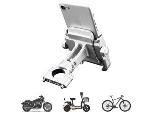 """vicelecus Motorcycle Phone Mount, Adjustable Anti Shake Metal Bike Phone Holder for iPhone X/8/7/6 Plus Samsung Galaxy S9/S8/S7/S6 GPS, Holds Devices up to 3.7"""" Width (Silver)"""