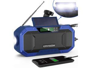 IPX5 Waterproof Auto Scan Hand Crank NOAA Emergency Radio,5000mAh Portable Weather Solar Radios with Bluetooth Speaker,AM/FM Emergency Broadcast Radio with Cell Phone Charger