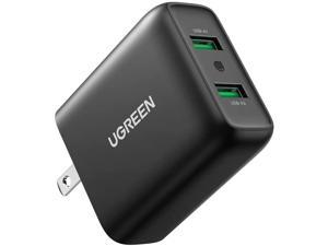 UGREEN Quick Charge 36W Dual Wall Charger QC 3.0 USB Wall Charger Fast Charging Adapter Compatible for Samsung Galaxy S20 S10 S9 S8 Note 10 9 iPhone iPad LG HTC and More