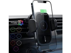 ZeeHoo Wireless Car Charger,15W Qi Fast Charging Auto-Clamping Car Mount,Air Vent Phone Holder Built-in Atmosphere Led Lights,Compatible with iPhone 12/Mini/11 Pro Max,Samsung Note 10 (Black)