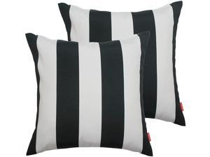IN4 Care Indoor Outdoor Pillow Covers Pack of 2, All Weather Patio Accent Square Toss Pillow Cushion Case 17 Inch x 17 Inch for Home Sofa Couch Patio Furniture Decoration–Black White