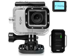 """Pyle Expo Sports Action Camera - HD 1080P Mini Hi-Res Camcorder w/ Wifi, 20MP Cam, 2"""" Screen USB SD Card HDMI, Battery - Waterproof Case, USB Cable, Wireless Remote Control, Mount - PSCHD90SL (Silver)"""