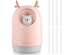 300 ML Portable USB Cool Mist Humidifier Mini Humidifiers with 7 Colors LED Light Auto Shut off Humidifier Adjustable Mist Mode Quiet Air Humidifier for Bedroom Home Office Vehicle (Pink)