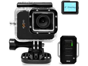 """Pyle Expo Sports Action Camera - HD 1080P Mini Hi-Res Camcorder w/ Wifi, 20 MP Cam, 2"""" Screen USB SD Card HDMI, Battery - Waterproof Case, USB Cable, Wireless Remote Control, Mount - PSCHD90BK (Black)"""