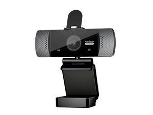 Webcam, 2K Live Streaming Camera with Stereo Microphone, Desktop or Laptop USB Webcam for Widescreen Video Calling and Recording