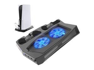 Vertical Stand with Cooling Fan for PS5 Console and Playstation 5 Digital Edition, Including 2 DualSense Controller Charging Dock and 3 USB Ports, Charging Vertical Stand Controller Black