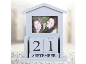 1PC DIY Wooden Calendar Vintage Creative Desktop Manual Calendar DIY Table Perpetual Calendar Date Display Adornment for Home Office Classroom Decoration (Grey)