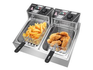 ZOKOP Electric Deep Fryer 5000W 110V 12.7QT Stainless Steel Double Cylinder Electric Fryer Countertop Frying Machine With Basket