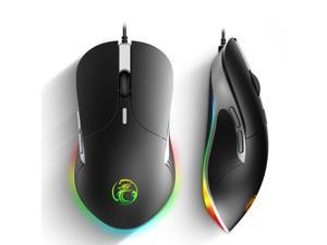 RGB Wired Gaming Mouse 7 Programmable Macro Button 6400DPI Game Optical Grip Mice with Golden Ratio Size for Gamer Ergonomically Comfortable Mouse