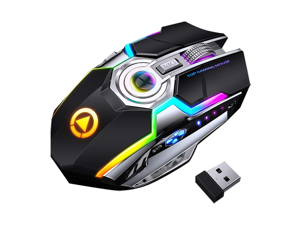 Rechargeable 2.4G Wireless Gaming Mice W/USB Receiver RGB Colors Backlit for Laptop, Computer PC MacBook