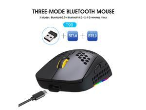 RGB Wireless Light Gaming Mice, Three-Mode 2.4G and Bluetooth Mouse Ultra-Light Honeycomb Shell Mouse, RGB Backlight, Adjustable 3600 DPI,USB Receiver,Ergonomic Mouse for PC Gamers Black