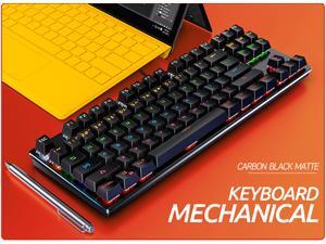 Mechanical Gaming Keyboard RGB LED Backlit Mechanical Keyboards - Small Compact 87 Key Metal Mechanical Computer Keyboard USB Wired Blue Equivalent Switches for Windows PC Gamers - Black