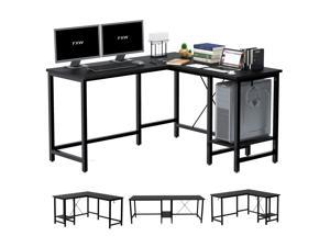 L-Shaped Computer Desk, 55-Inch Corner Desk for Home Office Writing Study Workstation Table with Storage Shelf, Adjustable 2 Person Long Desk PC Laptop Table for Space Saving