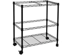 2-Tier Metal Rolling File Cart, Black