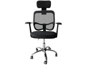 Ergonomic Mesh Office Chair, Adjustable Computer Desk Chair with Headrest Comfortable Backrest Task Chair Swivel Rolling Chair, Black