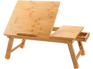 Laptop Desk Table Adjustable 100% Bamboo Foldable Breakfast Serving Bed Tray w' Tilting Top Drawer