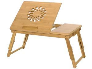 Bamboo Laptop Desk, Adjustable Portable Breakfast Serving Bed Tray Multifunctional Table with Tilting Top Storage Drawer