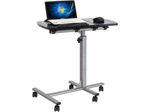 Overbed Bedside Desk Mobile Rolling Laptop Stand Tilting Overbed Table with Wheels Height Adjustable Tray Table for Laptop Bed Sofa Side Table (Black)