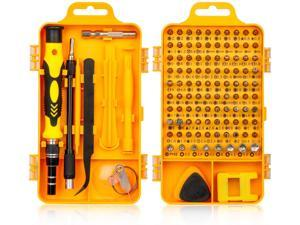 Precision Screwdriver Set,  115 in 1 Professional Screwdriver Set, Multi-function Magnetic Repair Computer Tool Kit Compatible with iPhone/Ipad/Android/Laptop/PC etc (Yellow)