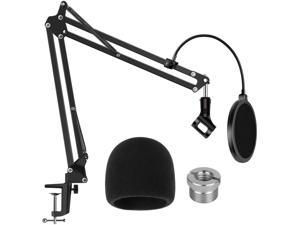 Heavy Duty Microphone Stand with Mic Microphone Windscreen and Dual Layered Mic Pop Filter Suspension Boom Scissor Arm Stands for Blue Yeti,Blue Spark and Other Mic
