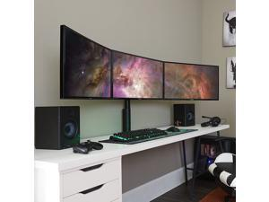 """Triple Monitor Desk Mount Stand for 3 Screens Up to 27"""" - Adjust Tilt, Orientation & Swivel of Each Monitor Without Tools - Lock-Down Height Adjust Eliminates Screen Wobble"""