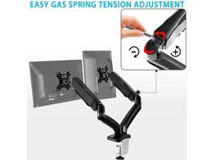 Dual Monitor Desk Mount - Articulating Gas Spring Monitor Arm, Removable VESA Mount Desk Stand with Clamp and Grommet Base - Fits 13 to 32 Inch LCD Computer Monitors, VESA 75x75, 100x100
