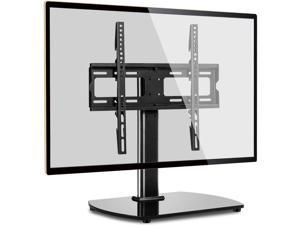 TV Stand Base Table Top TV Stand Swivel Mount for Most 27-55 inch LCD LED TVs, Height Adjustable TV Replacement Stand with Black Tempered Glass Base and Cable Management, VESA 400x400mm