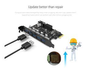 PCIE to USB Card Eletrand PCI-E USB 3.0 Expasion Card 5 Ports, Superspeed USB 3.0 Hub with 15-Pin SATA Power Connector 19-Pin USB 3.0 to 5 USB 3.0 Expansion Card for PC No Driver Need Upgraded Version