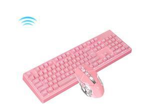 Lingdu K616 2.4GHz Wireless/USB Wired Gaming Keyboard Compact 104 Key RGB LED Backlit + Durable,Ergonomic,Anti-ghosting Gaming Keyboard(Pink)