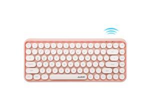 A-jazz 308i Compact 84Keys Bluetooth Wireless Keyboard,Retro Round Keycaps Support PC, Laptop,Ipad,PC Tablet,Silent Typing