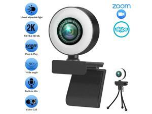 LIMEIDE 1080P Webcam for PC, Full HD Computer 2K Camera with Cover USB Web Cam with Microphone, Cover, Expandable Tripod, Touch Switch Light, Streaming Camera for Skype, Streaming, Teleconference etc.