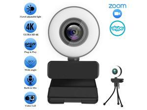 LIMEIDE 2160P/30FPS Webcam for PC, Full HD Computer 4K  Camera  USB Web Cam with Microphone, Expandable Tripod, Streaming Camera for Skype, Touch Switch Light, Streaming, Teleconference etc