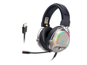 LIMEIDE GH288 Professional Wired Gaming Headset Lightweight Noise Canceling Over-Ear PC Gaming Headphones with 360 Degree Rotation Omnidirectional Mic for Computer (7.1 USB)