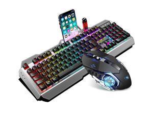 LIMEIDE K670 Gaming Keyboard and Mouse Combo,Backlit Wired Gaming Keyboard and RGB Gaming Mouse, LED 104 Keys USB Ergonomic Keyboard(Black)